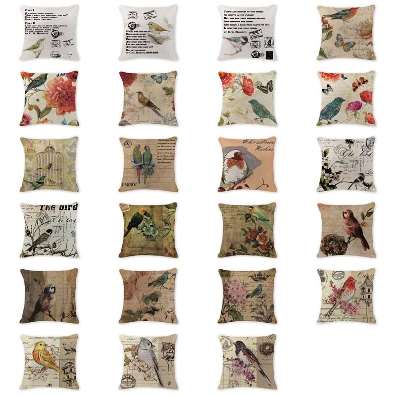 Romantic Cushion Cover European Bird Animal Rustic Pillow Cover Game 45 Cotton Linen Decoration For Home Throw Pillow Covers