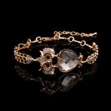 Moda 2016 de plata chapado en oro Animal Lucky pulseras búho para mujeres cristal pulseras y brazaletes joyería Vintage Pulsera Mujer