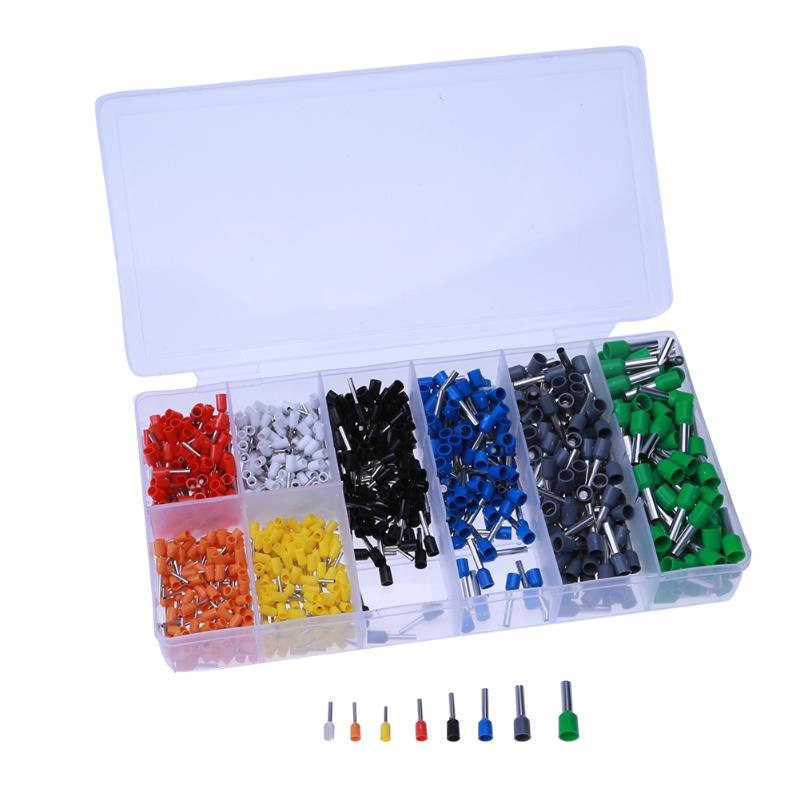 800pcs Cable Bootlace Copper Ferrules Kit Set Wire Electrical Crimp Connector Insulated Cord Pin End Terminal Hand Repair Kit 2340pcs lot mixed 15 models dual bootlace ferrule kit electrical crimp crimper cord wire end terminal block