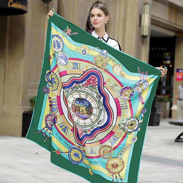 130*130 cm 2017 Nova Outono Inverno mulheres marca lenço de seda lenço de seda de luxo clássico cadeia círculo dot sarja pashmina Xale de seda
