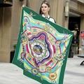 130*130 cm 2017 Nuevo Otoño Invierno de la bufanda de seda de lujo de la marca mujeres de la bufanda de seda clásica cadena circle dot sarga Chal pashmina de seda