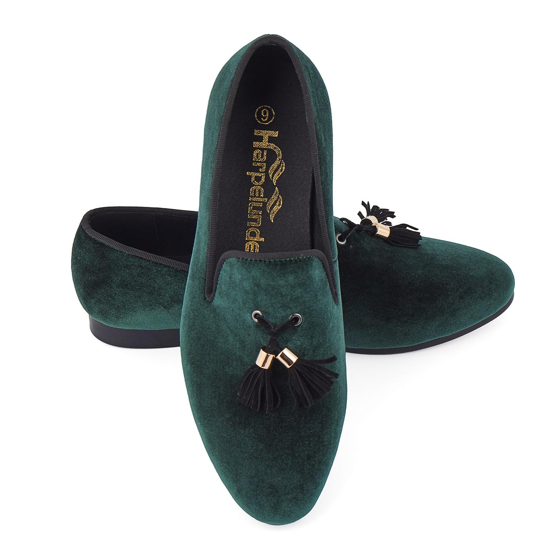 Harpelunde حار بيع الرجال أحذية المخملية الخضراء المتسكعون حجم 6-14