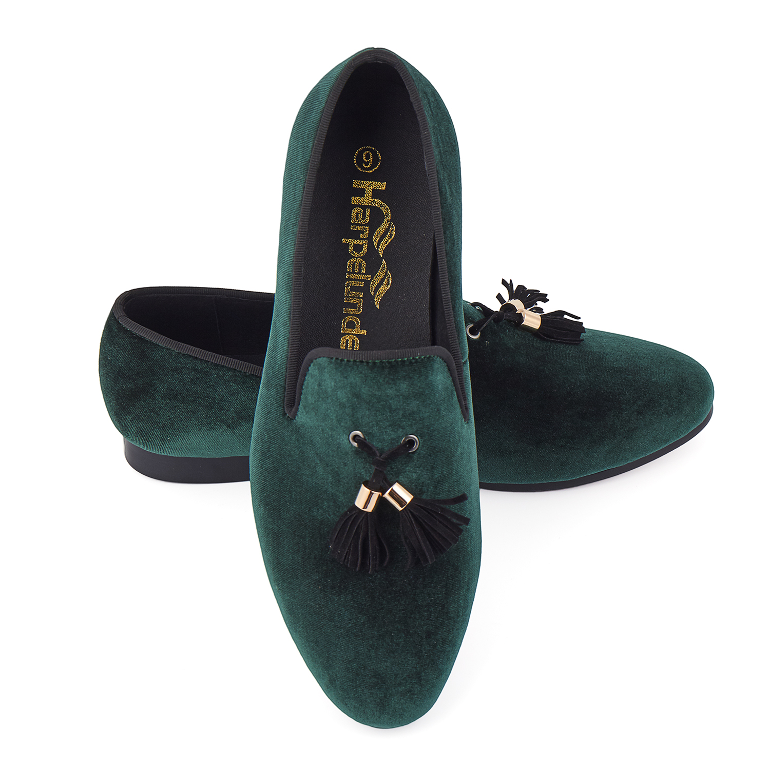 Harpelunde offre spéciale hommes chaussures vert velours mocassins taille 6-14