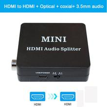 1080P HDMI audio extractor + Optical TOSLINK SPDIF + 3.5mm Stereo Audio Extractor Converter HDMI Audio Splitter цена и фото