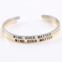 2017 Hot 316L Stainless Steel Engraved Mind Over Matter Positive Inspirational Quote Cuff Mantra Bracelet Bangle for Women