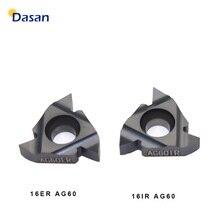 16ER AG60 16IR 16ER 1,0 ISO 2,0 ISO 3,0 Tugsten Hartmetall Einsätze Threading Klinge CNC Gewinde Platte Drehmaschine Drehen Werkzeug