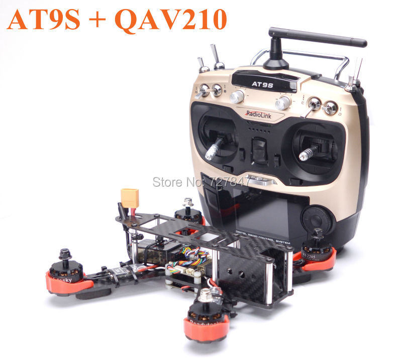 Ready to Fly QAV210 210mm RS2205 Motor F3 Deluxe Flight Control 30A ESC w/ Hobbywing XRotor micro BLHeli Firmware Radiolink AT9S carbon fiber zmr250 c250 quadcopter 2204 2300kv motor mini blheli 20a esc f3 flight controller 5045 prop for qav250