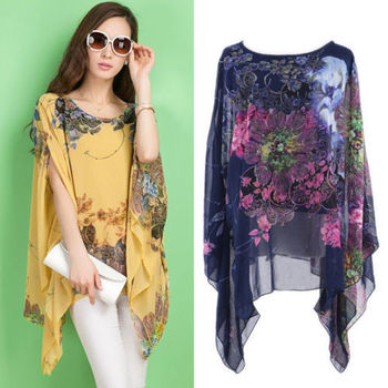 Summer Women Sexy Batwing Sleeve Loose Chiffon Floral Print Blouse Tops