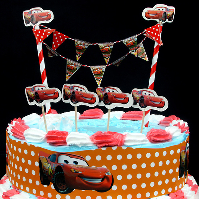 New Arrival Cool The Cars Design Cartoon Paper Cake Wrapper Flag