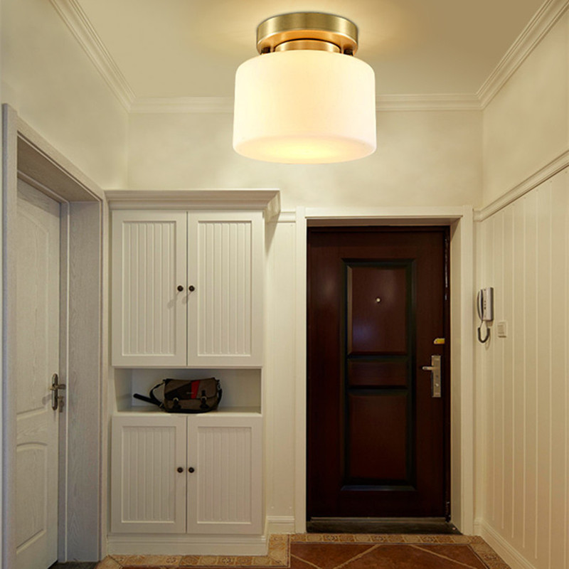 2017 New Chinese Style Aisle Balcony Entrance Corridor Ceiling Lamp European Circular Glass Copper Home Decor Lightings Fixture 2016 new european style full copper wall lamp hallway balcony corridor lighting