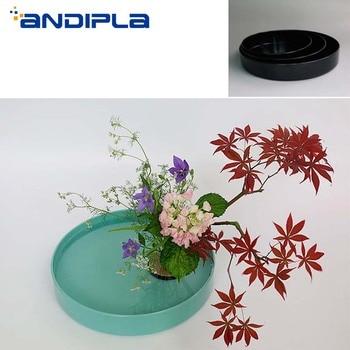 Japanese Style Ikebana Teaching Flowerpot Pure Color Plastic Flower Pot Vase Hydroponic Plant Bonsai Plastic Planters Food Plate