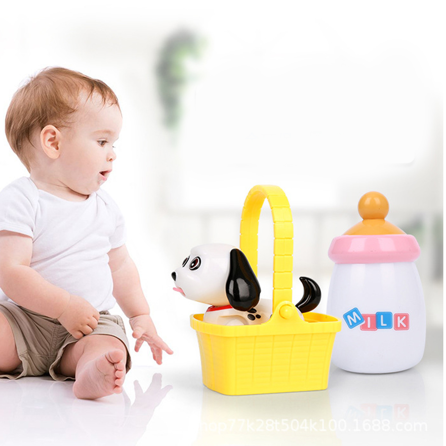 Funny Robot Dog Toys Electronic Pet Dog Induction Sucking Tongue Stick Out Drink Milk Bottle Kids Intellectual Development Gifts