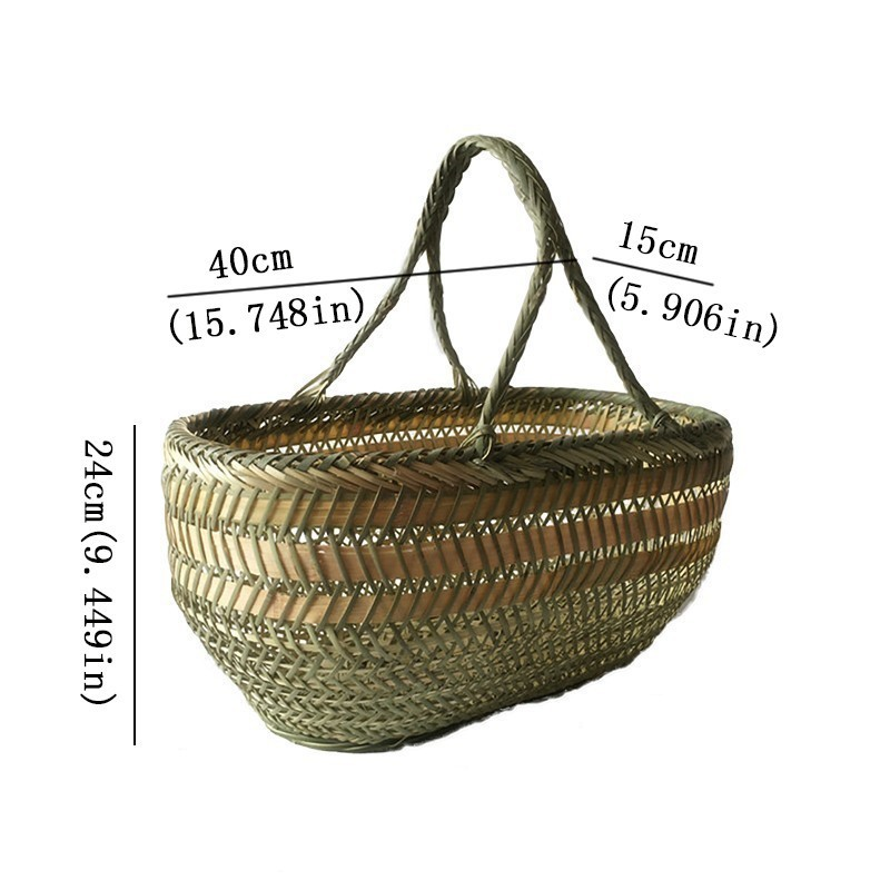 Set Of Natural Bamboo Round Wicker Baskets Woven Storage fruit and vegetable