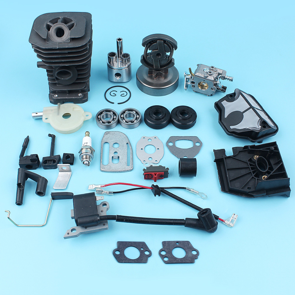 Nikasil Plated Cylinder Piston Carburetor Ignition Coil Clutch Drum For Husqvarna 142 137 136 Chainsaw 38mm Top End Kit chainsaw module ignition coil wire kit for husqvarna 36 41 136 137 141 142 chainsaw 530039239