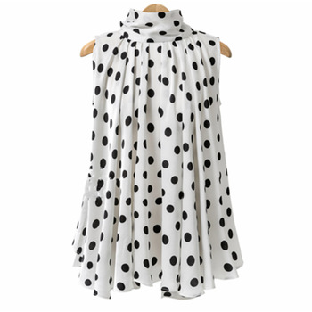 Plus Size Bow Print Big Dot Turtleneck Blouses Shirts 4XL 5XL Streetwear Sleeveless Loose Blouse 3