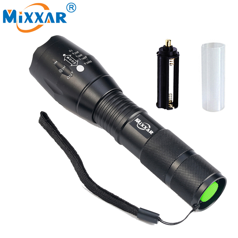 S mixxar XM-L T6 9000LM Aluminum Waterproof Zoomable CREE LED Flashlight Torch light for 18650 Rechargeable Battery or AAA leshp xm l t6 5000lm aluminum waterproof zoomable cree 5 mode led flashlight torch light for 18650 rechargeable battery or aaa