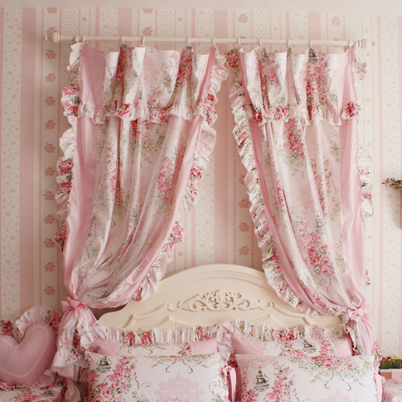 korean style princess pink rose ruffle curtain window. Black Bedroom Furniture Sets. Home Design Ideas