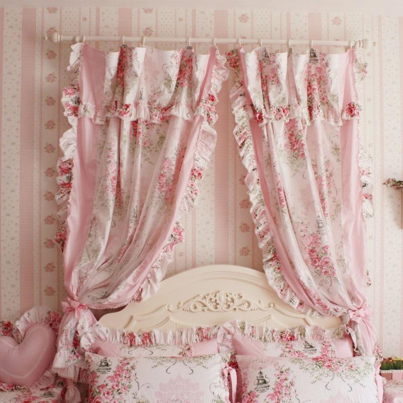 Korean Style Princess Pink Rose Ruffle Curtain Window