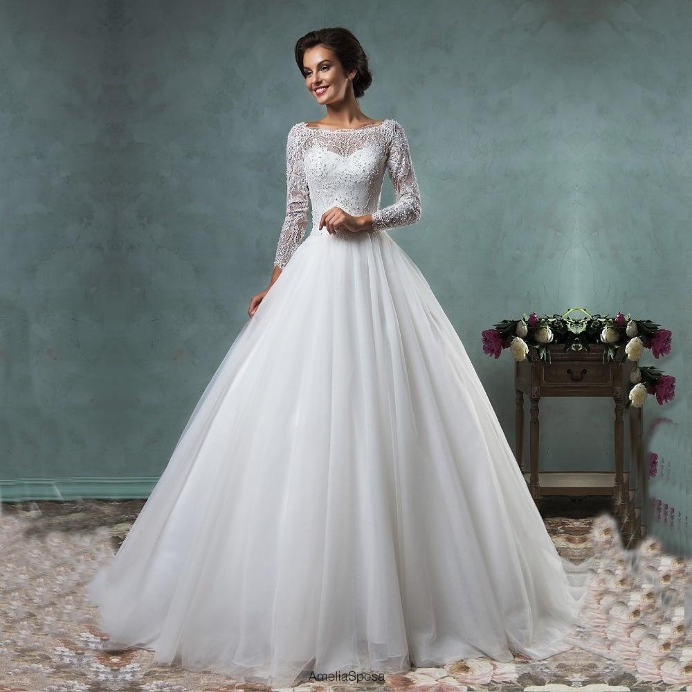 Elegant Lace Sleeve Short Wedding Dresses 2016 Scoop Neck: Royal Lace A Line Long Wedding Dresses Formal Tulle Scoop