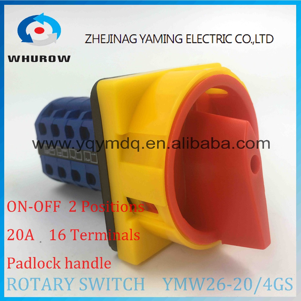 YMW26-20/4GS Rotary switch knob 2 position ON-OFF padlock handle yellow red High quality changeover cam switch 20A 4 phase ui 660v ith 125a on off 2 position rotary cam changeover switch lw28 125 3