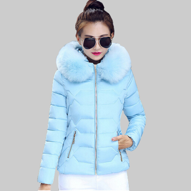 Winter Jacket Women 2016 Winter Coat Women fur collar hooded warm winter coat Down & Parkas casaco feminino