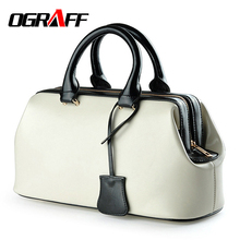 OGRAFF Luxury Handbags Women Bags Designer Genuine Leather Doctor Bag Female Handbag Shoulder Bags Female Messenger