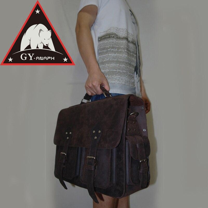 ANAPH унисекс деловые сумки, толстый оригинал из натуральной нешлифованной кожи Исполнительный портфели для Для мужчин 16 ноутбук сумка 30 лет