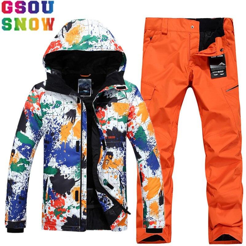 GSOU marca de nieve traje de esquí para hombres chaqueta de esquí pantalones de snowboard trajes de esquí impermeables invierno deporte al aire libre Skiwaer ropa de nieve