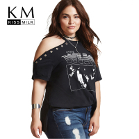 Kissmilk Plus Size Rivet Decorate Off Shoulder Letter Print T Shirt Solid Color Short Sleeve Women