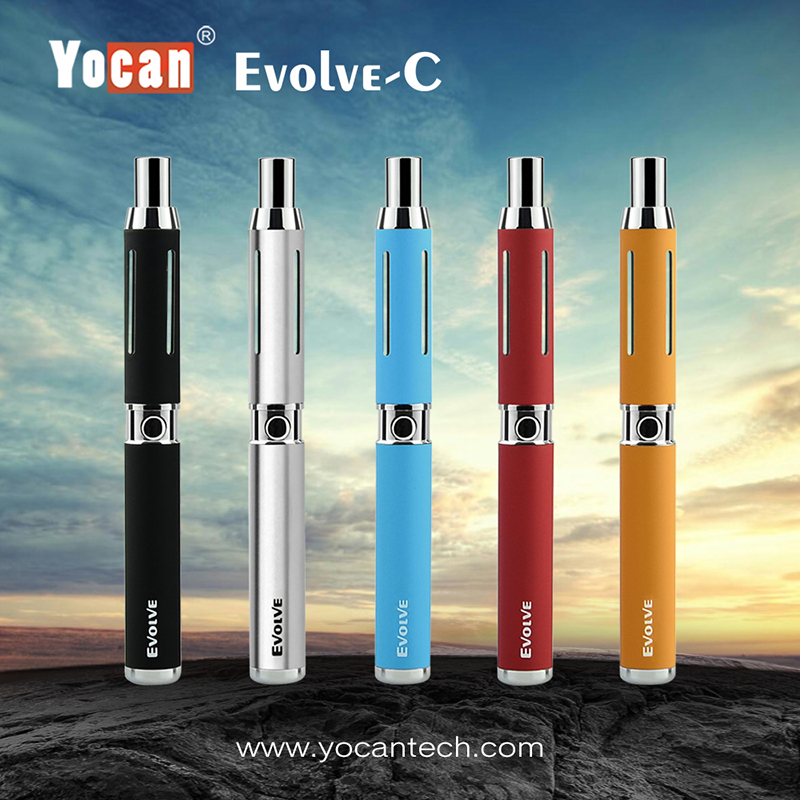 2pcs/lot Yocan Electronic Cigarette Kit Evolve C 2 Kind of Atomizer CBD Wax Pen O Pen For Wax & CBD Oil Vape Dry Wax Vaporizer