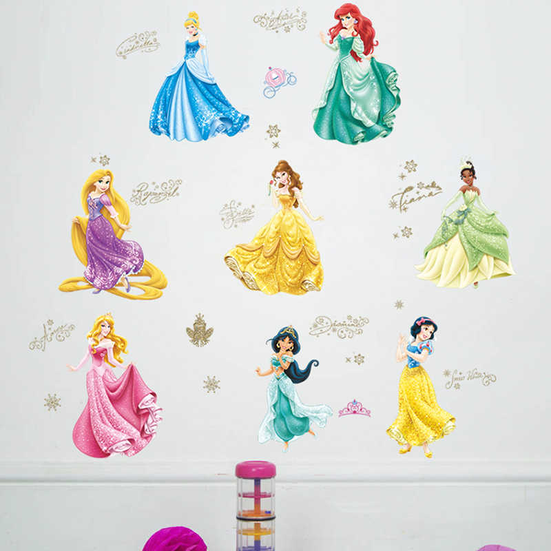 Cartoon Disney Princess Theme Wall Stickers For Girls Room Door Wall Decoration Diy Kids Bedroom Mural Art Pvc Poster Home Decal