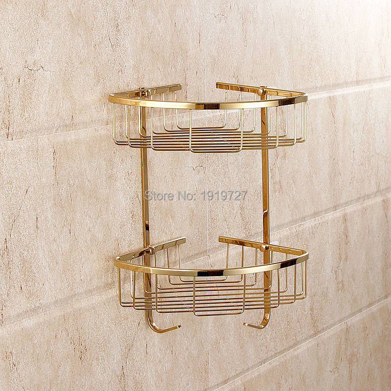 Wholesale New Arrival Decorative Multipurpose Golden Wall Mount 2 Tier Shelf Rack for Kitchen Spices / Bathroom Product Holder reflection spectroscopy shelf mount open pg207 15 to 50 70 100