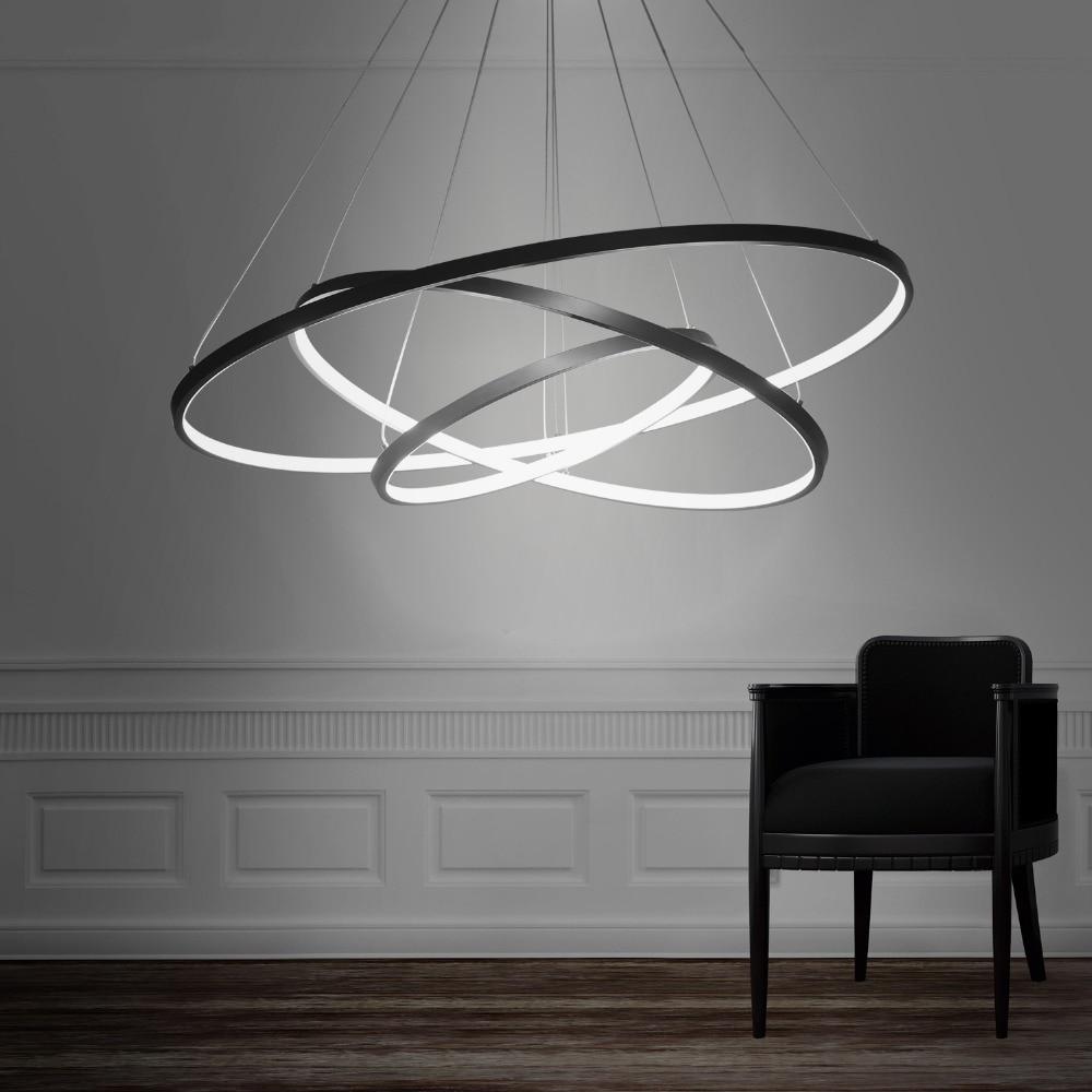 UMEILUCE Modern Led Pendant Light Hanging Lamp Lighting Ring Aluminium Black or White Painting for Living