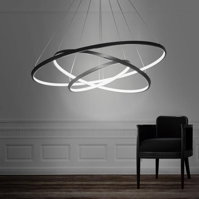Moderne Led Anhänger Licht Hängen Lampe Beleuchtung Ring Aluminium Schwarz  Oder Weiß Malerei Für Wohnzimmer Bett