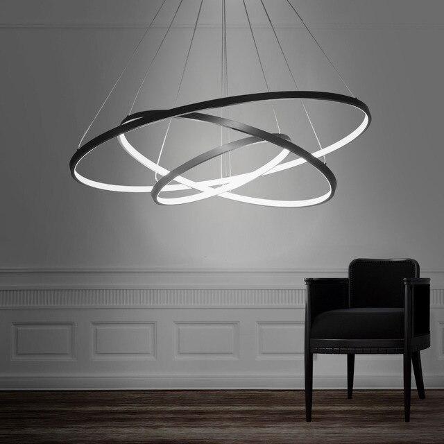 Moderne Led Pendelleuchte Hängeleuchte Beleuchtung Ring Aluminium Schwarz  Oder Weiß Malerei Für Wohnzimmer Bettzimmer Kostenloser Versand