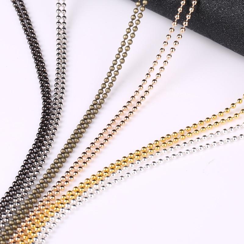 10 м/лот Ширина 1,5 мм 2,4 мм Металл цепь из шариков Золото Круглый серебряного цвета бусины-шарики, цепочки для DIY аксессуары для изготовления украшений