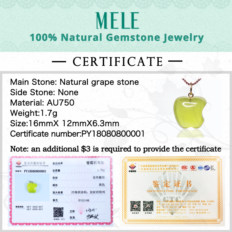 Natural yellow prehnite 18k real gold pendant for women and man,16X12mm apple shape gemstone fashion and simple Grape stone - 6