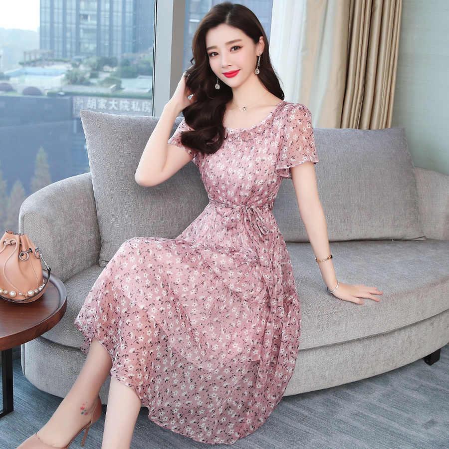 Летний Новый Винтажный плюс размер цветочный Шифоновый Сарафан 2019 корейский Boho пляжное сексуальное платье элегантное, миди женское платье с коротким рукавом Vestidos