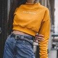 Women Yellow Croped Hoodies Sweatshirt Tumblr Cute Korea Sweatshirt Fashion Harajuku Oversize Letter Printed Long Sleeve Hoodies