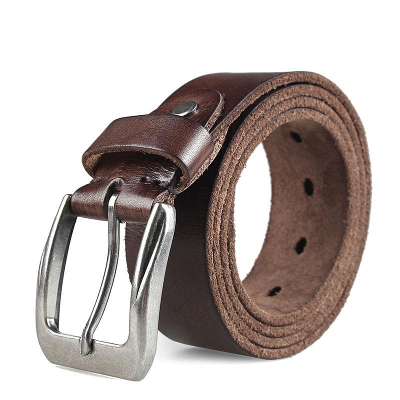 mens genuine leather belt casual belts for man jeans buckle strap brown color best quality cow skin wider designer luxury