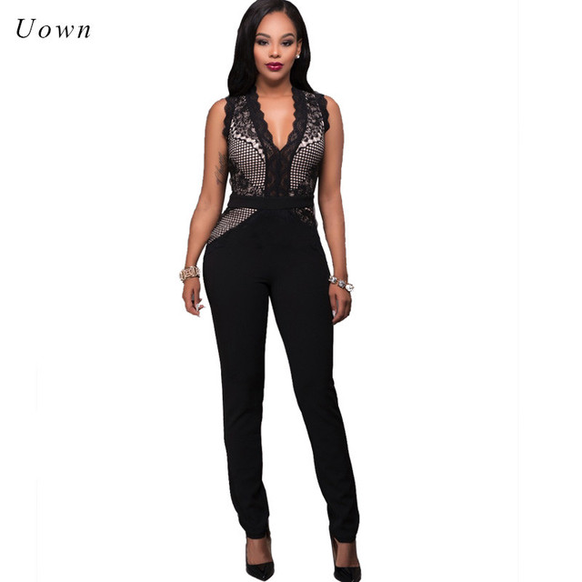 31b06abd4955 Lace Jumpsuit Long Pants Romper Women Summer Sleeveless Deep V Neck Bodycon  Work Wear Formal Jumpsuits Party Evening Overalls