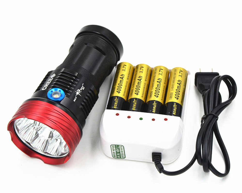 SKYRAY High Power LED Flashlight Torch 10000 Lumens Wide Range Outdoor LED Lantern 9 x CREE XM-L T6 Strobe Light With 4 x 18650 10pcs lot high power led flashlight waterproof torch flashlights 7 x cree xm l t6 12000lm for 4 x 18650 battery with charger