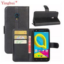 For Alcatel U5 4G Case High Quality Flip Leather Book Style Stand Cover