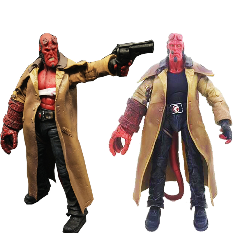 2 Type Movie Mezco HB Hellboy Series Includes Cigar Samaritan Handgun Action Figure Model Toy Gift image