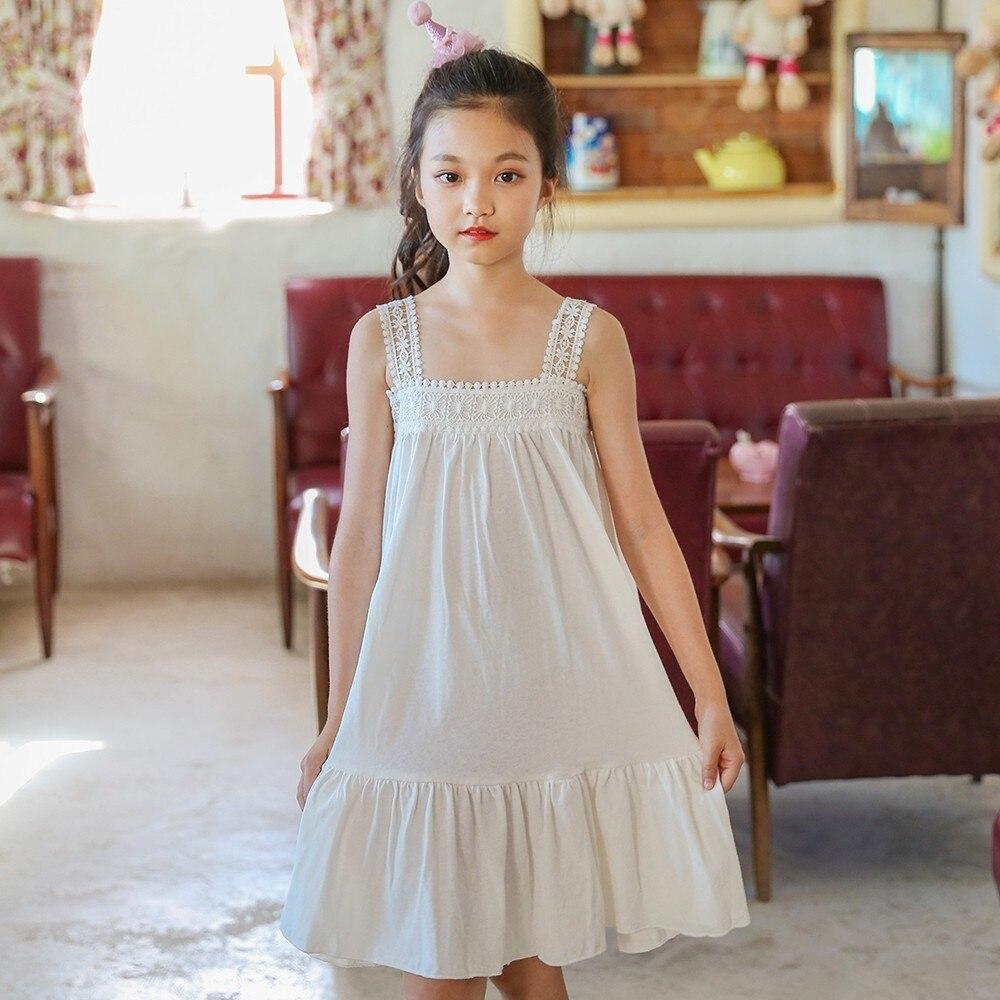 Cotton Linen Teenage Girls Clothing Purple White Children Dresses Summer A Line Holiday Baby Girls Dresses 2018 Sundress