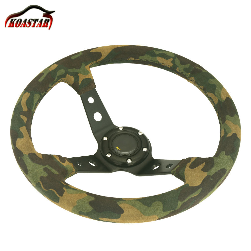 New 350MM Deep Dish Camouflage Suede Leather Steering Wheel Matte Leather 14 inch Drifting Car Racing