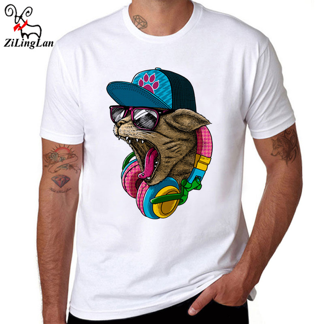 Zilinglan brand men 39 s fashion crazy dj cat design t shirt for Crazy t shirt designs