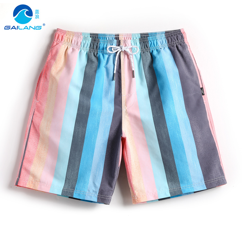 2018 New   board     shorts   men colored striped swimming trunks bathing suits surf   shorts   mens swimwear sports sweat swimsuits lined