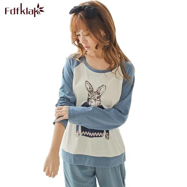 e4f251eb2128a8 Cute cartoon bawełna pijamas piżama zestaw z długim rękawem jesień zima  miękkie piżamy damskie domowe ubrania damskie piżamy garnitur Q526