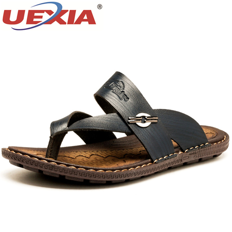UEXIA New Mens Sandals Leather Summer Shoes Handmade Sandals For Men Comfortable Shoes Sandalias Slippers Beach Casual Footwear